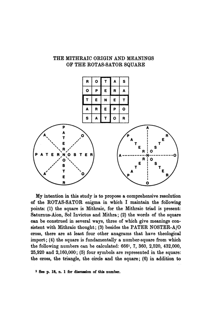 The Mithraic Origin and Meanings of the Rotas-Sator Square